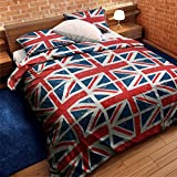 UNION JACK COTTON MIX CANADIAN QUEEN (230 X 220CM - UK KING SIZE) RED WHITE BLUE FLAGS FLAG DUVET QUILT COVER COMFORTER COVER