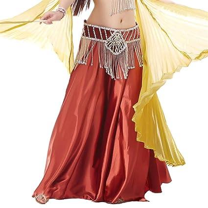 Insun Danza del Vientre Satén Faldas Largas Vestidos de Mujer Rojo ...