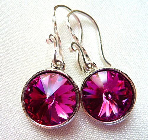 2801ea12a Amazon.com: Magenta Fuchsia Swarovski Crystal Earrings, Hot Pink ...