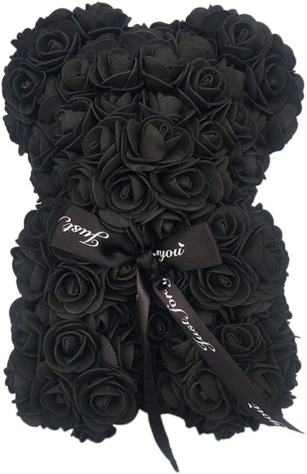 Vie /éternelle Rose Ours PE Mousse Rose Artificielle Couronne Teddy Bear et Doux Ruban Arc Poup/ée Anniversaire Romantique Saint Valentin Cadeau