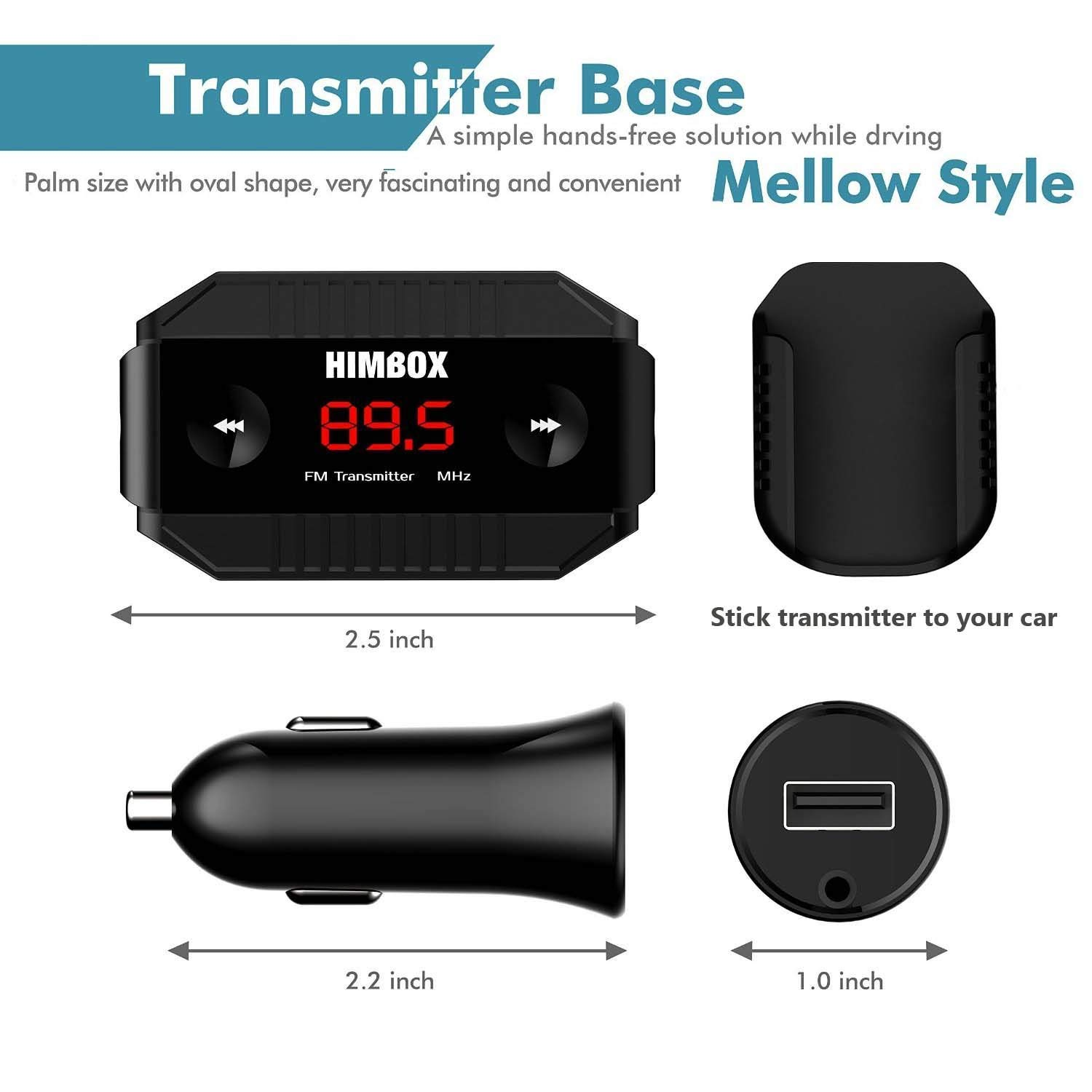 iClever FM Transmitter Radio Car Kits with USB Car Charger 3.5mm Aux Cable Compatible with iPhone Android Smartphone and More iPod
