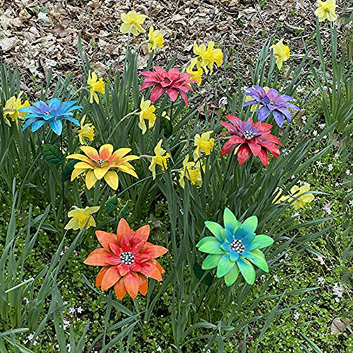 Flower Garden Stakes Decor,1/7PCS Metal Flower Yard Stake Flower Garden Stakes Plant Pick Water Proof,Summer Yard Porch Decor,Yard Flowers,Indoor Outdoor Lawn Pathway Patio Ornaments (Style A - 1 PCS)