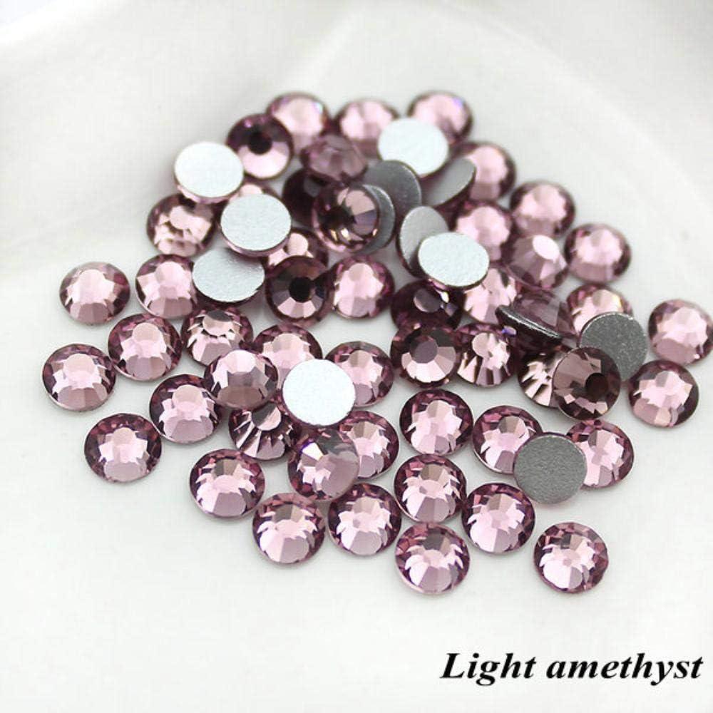 Diamantes de imitación de cristal SS6 (1,9 a 2 mm) sin HotFix con parte trasera plana, 1440 piezas de decoración colorida para uñas de diamantes de imitación Amatista claro