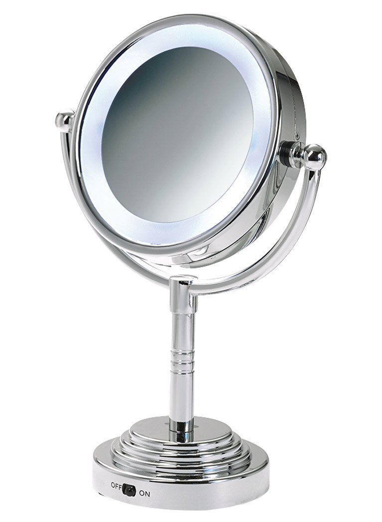 Ovente MLT28C LED Battery-Operated Tabletop Vanity Mirror, 1X/5X Magnification, Chrome Ovente (Beauty)