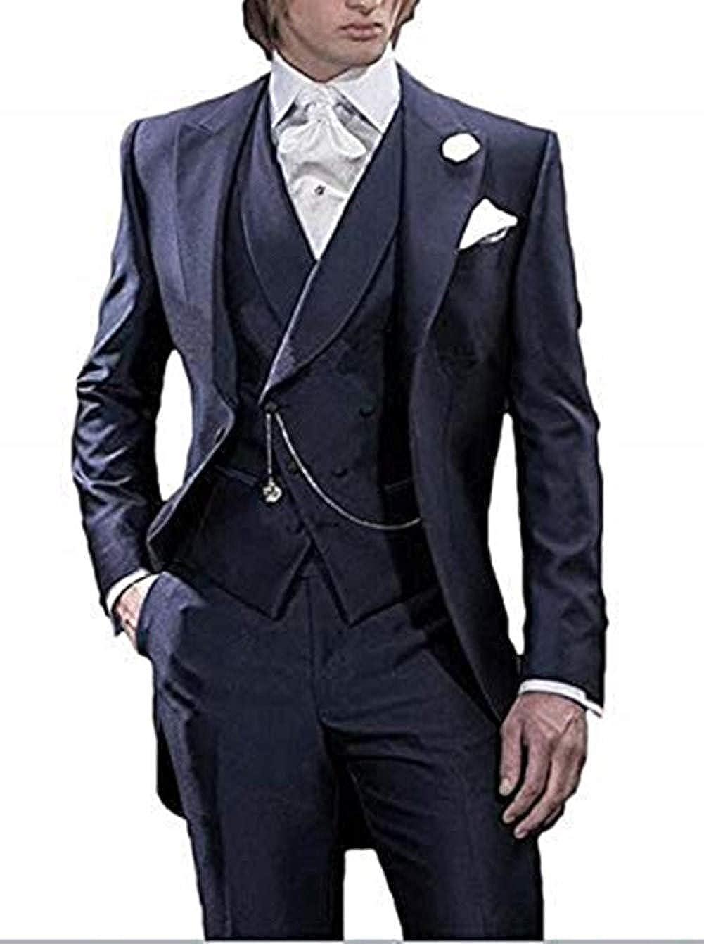 Mens Handsome 3 Pieces Tailcoat Suit Set Business Suit for Men 2018