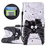 Gostyle Samsung Galaxy A8 2018 Flip Leather Wallet Case with Credit Card Holder Slots,Fashion Colorful Pattern with Kickstand Magnetic Closure Shockproof Cover,Black White Cat