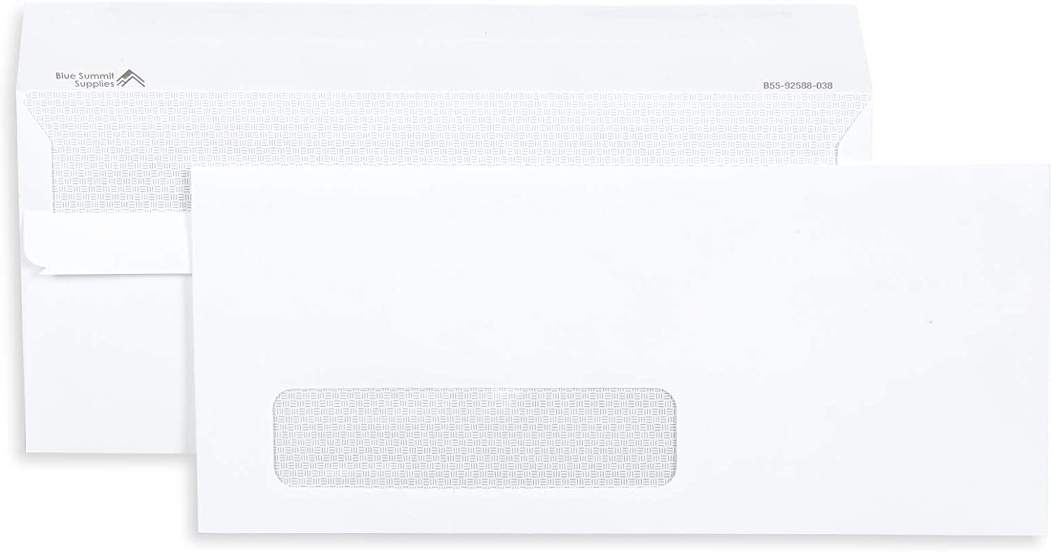 """Blue Summit Supplies 500#10 Single Window Security Envelopes Flip and Seal, Designed for QuickBooks Invoices and Business Statements, Number 10 Size 4 1/8"""" X 9 1/2"""", 500 Pack"""