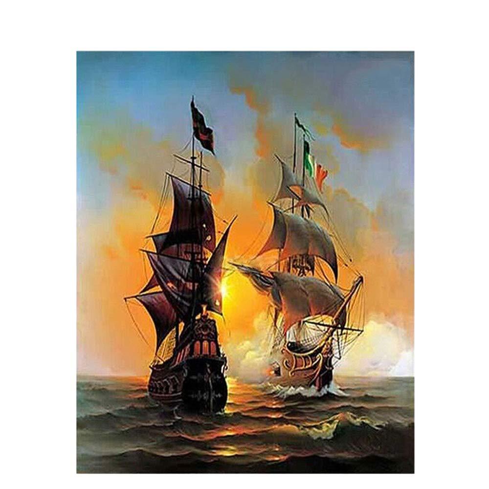 ZY&ZQ Kits Digital Pintura Seascape velero Europa Arte números Lienzo Pintura DIY por números Arte Pintura al óleo en Lienzo decoración para el hogar 40  50 cm 170413