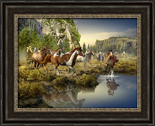 Wild Horse Canyon - Framed Canvas reproduction of Roberta Wesley's original creation - direct from Wesley Prints (Sage Pinto Horse)