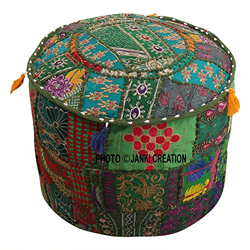 Cotton Patchwork Embroidered Ottoman Stool Pouf Cover Turquoise Green Floral Hassock Pouffe Case Footstool Floor Cushion Cover Ethnic Decor,Puff Cover (18x18x13)Embroidered Ottoman Stool Pouf Cover