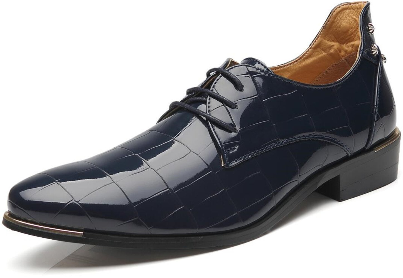 Men's Modern Lace-up Oxfords Classic Wingtip Leather Shoes Fashion Tuxedo Wedding Dress Shoes (12.0, Blue)
