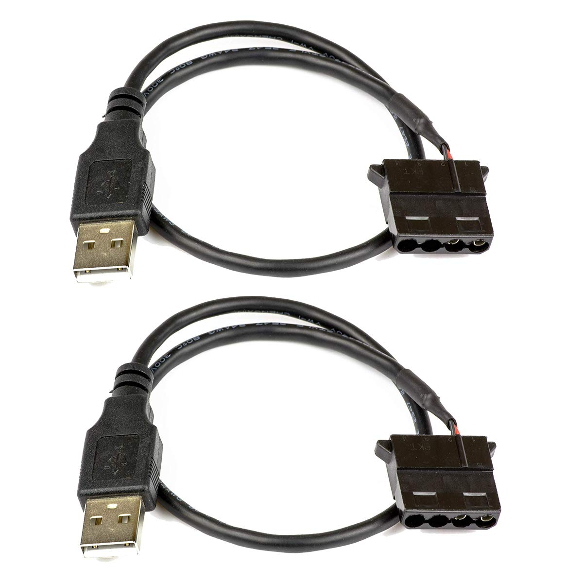 Aiyide AYD-USB-Molex USB-Molex Cable 5V USB to 12V 4 Pin Molex Computer PC Fan Adaptor Connector Cable Cord Wire 2 Pack USB to 4-Pin Molex Fan Power Cable Silent 5V Operation