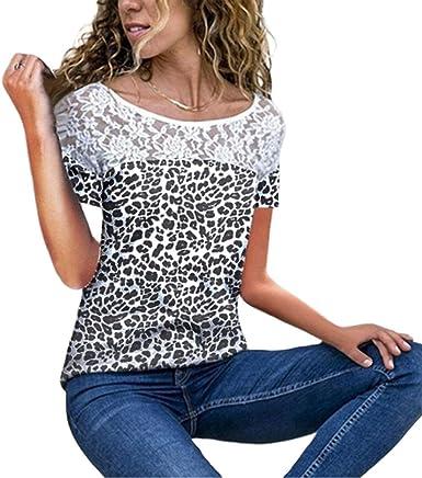 Camiseta Mujer Splice Encaje Blusa Elegante Verano De Moda Chica Moda De Moda Completi Joven Tops Festivos Cuello Redondo Manga Corta Loose Festival De Ocio Camisa Diaria De Tops: Amazon.es: Ropa y