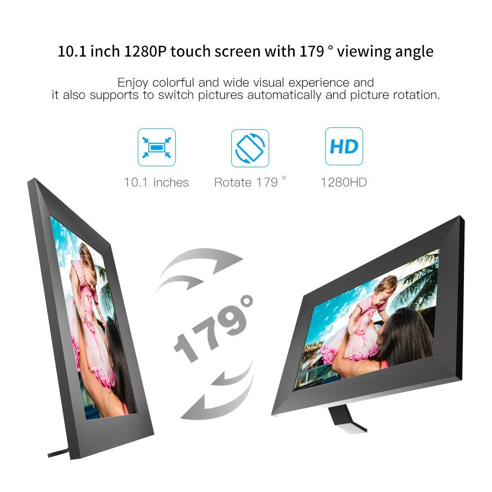 Marco Digital Fotos 10.1 Pulgadas YUNTAB Full HD IPS Touch Screen 1280x800 Alta Resoluci/ón,Compatible con iOS y Android,Photo Hiding,Picture Rotation Gris