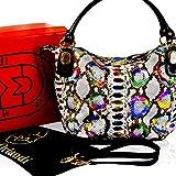 Marino Orlandi Italian Designer Rainbow Python Leather Large Purse Crossbody Bag