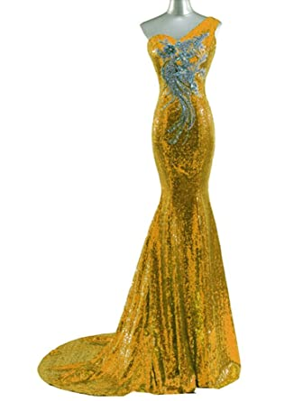 480eaff377 Snow Lotus Women s One Shoulder Sequins Decals Mermaid Tail Ball Gown Golden
