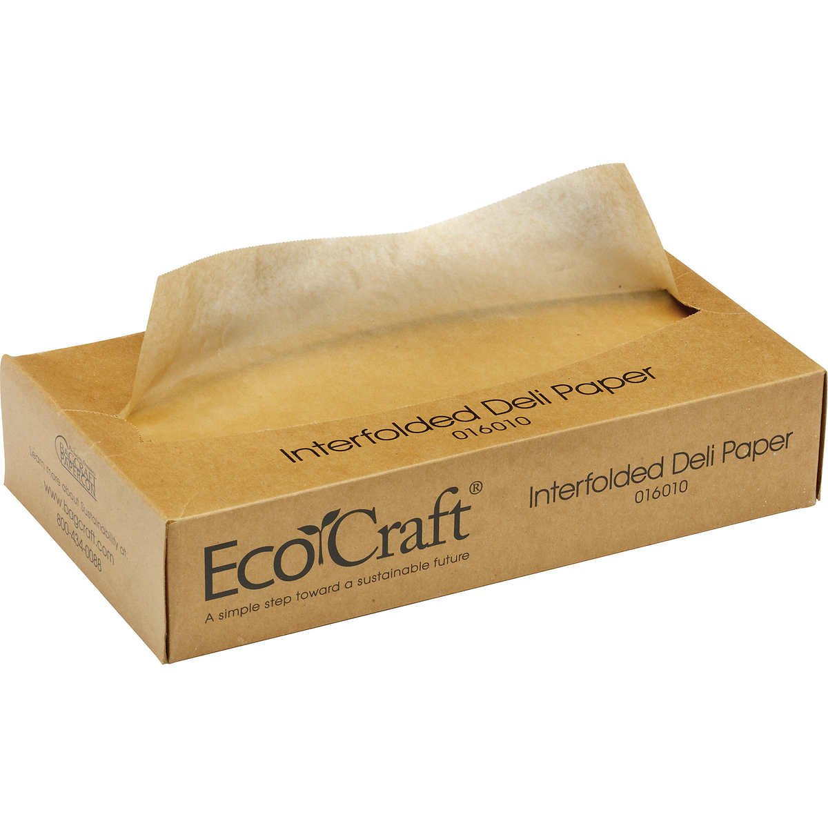 Bagcraft Papercon 016010 EcoCraft Interfolded Dry Wax Deli Paper, 10-3/4'' Length x 10'' Width, NK10 Natural (12 Packs of 500)