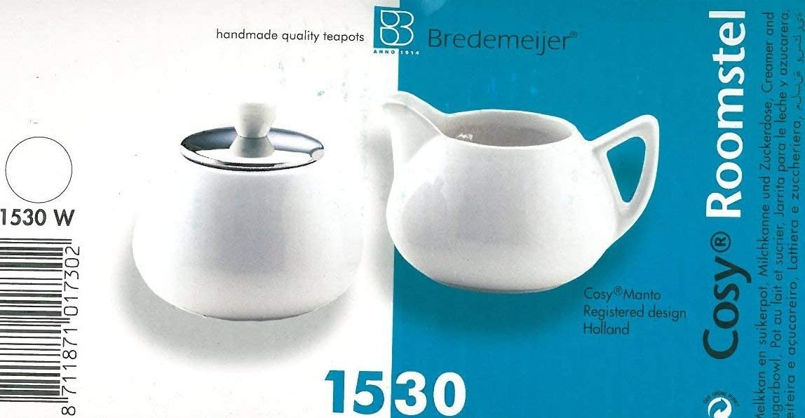 Bredemeijer Cosy Manto Ceramic And Stainless Steel Creamer And Sugar Set Spring White Coffee Services Cream Sugar Sets Amazon Com