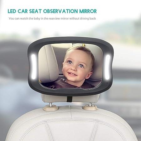 RENS Bebé Asiento Seguridad Espejo,360° Rotación Diseño Con LED Control Luz,Coche Ajustable Interior Espejo