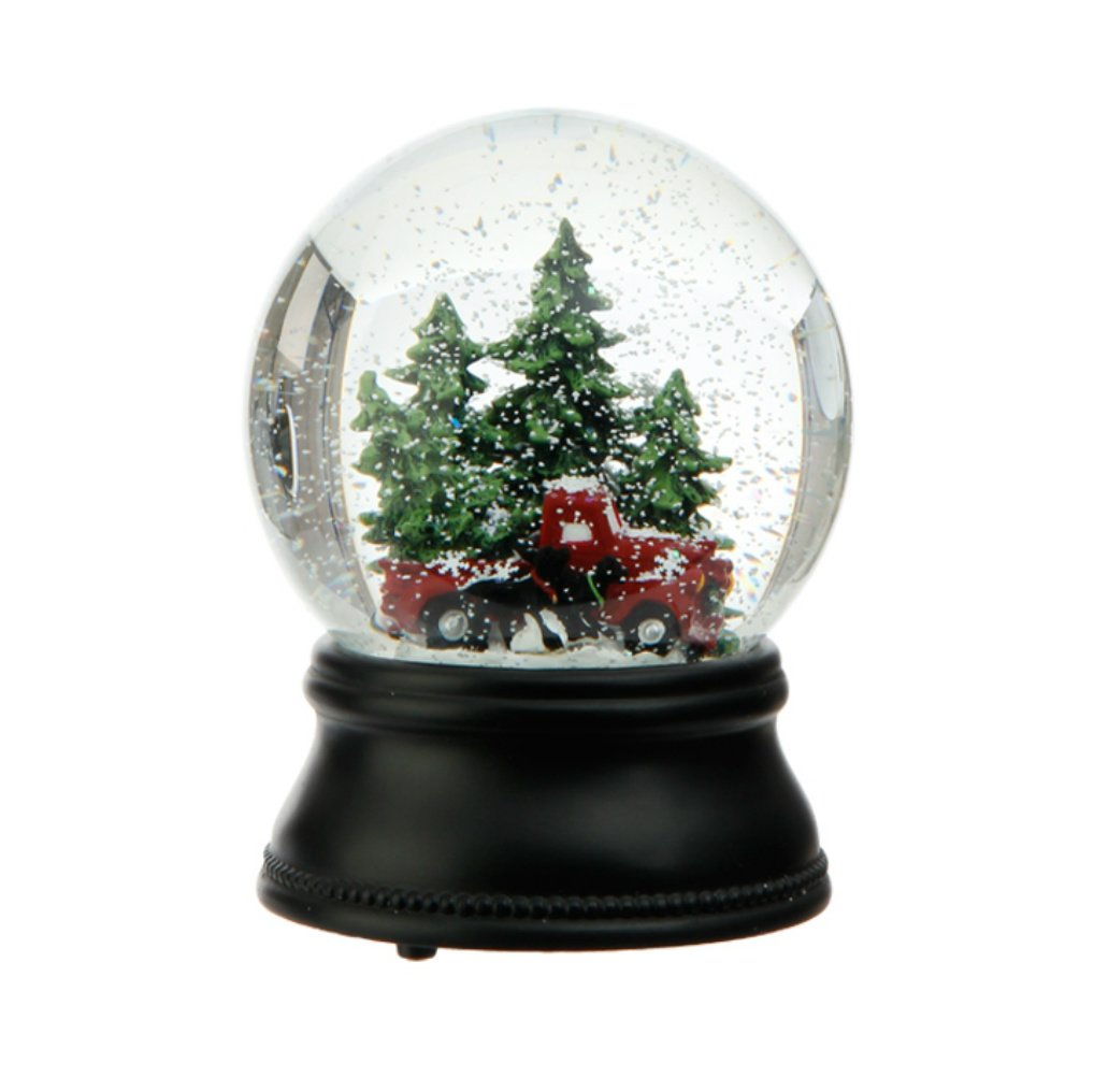 RAZ Wind Up Musical Old Fashioned Truck, Dogs and Trees Snowglobe Plays