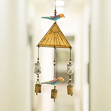 ExclusiveLane Bird Home Decorative Wall Hanging Cum Outdoor Garden Wind Chime with Copper Bells (Multicolour, Wood)