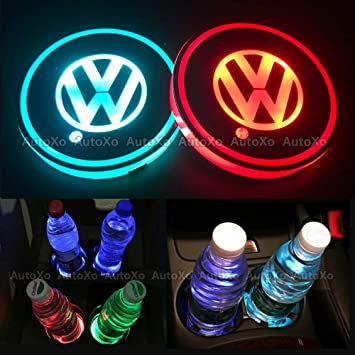 Ambient Light lamp with Glowing Coaster Interior Replaceable USB Charging pad car Logo Coaster with 7 Colors Car Interior Accessories for Volkswagen VW LED car Cup Holder lamp