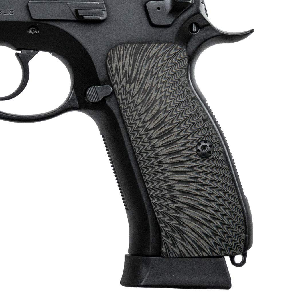 Cool Hand G10 Grips for CZ 75 Full Size, Sunburst Texture, Brand, Grey/Black by Cool Hand