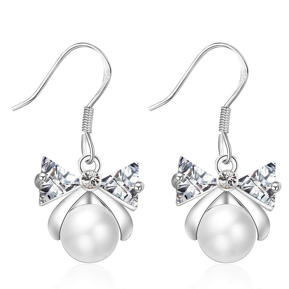 XZP Bow CZ Pearl Earrings for Girls Women 925 Silver Hook Dangle Earring Jewelry Gifts