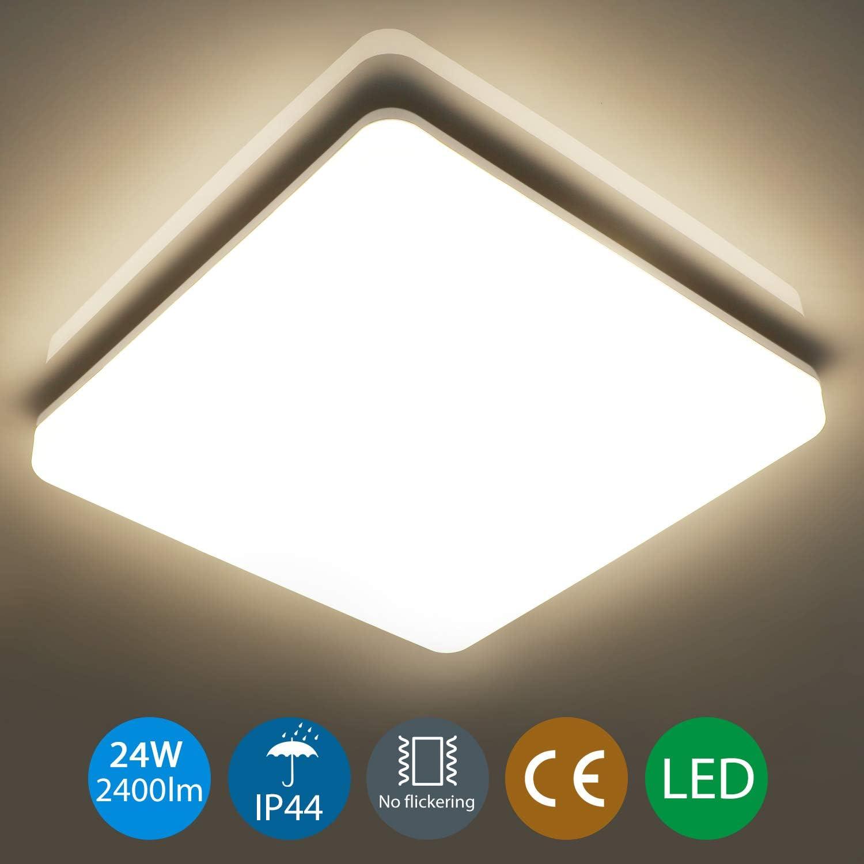 Oeegoo 24W Plafon LED de Techo Superficie Cuadrado, Impermeable ...