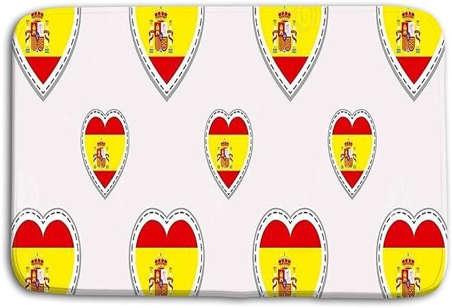 LiminiAOS Felpudo Interior al Aire Libre España Bandera Patrón sin Costuras Vector Banderas españolas stikers Amor Corazones Símbolos Fondo Idiomas Cursos Páginas Deportivas Estera de Viaje: Amazon.es: Hogar