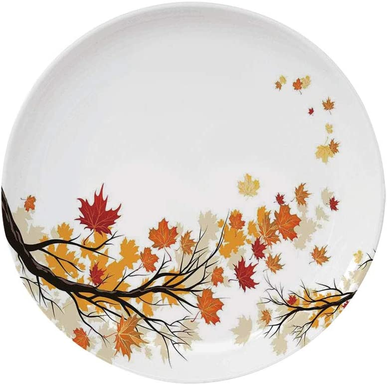"""Ylljy00 Fall 8"""" Dinner Plate,Swirling Bended Fall Tree Branches with Colored Leaves Pastoral Season Theme Decorative Ceramic Decorative Plates,Dining Table Tabletop Home Decor,Marigold Dark Orange"""