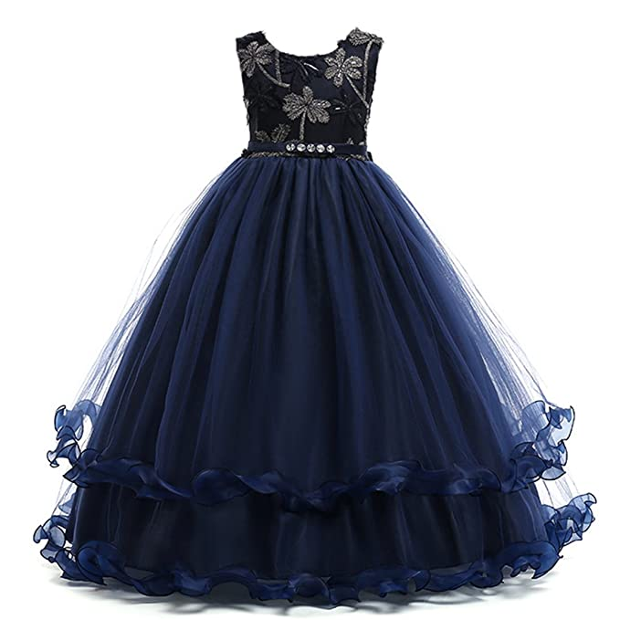 b9e74a6342d ADHS Baby Girl Cotton Blend Sleeveless Ankle Length Crew Neck Lace Dresses (Navy
