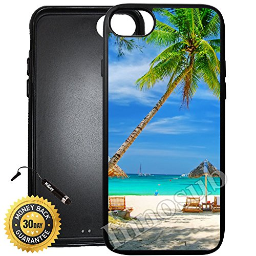 Palm Tree Resort - Custom iPhone 8 Case (Tropical Beach Resort Palm Tree Sand) Edge-to-Edge Rubber Black Cover with Shock and Scratch Protection | Lightweight, Ultra-Slim | Includes Stylus Pen by INNOSUB