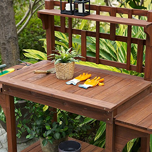 Garden Potting Bench with Storage Shelf Wood Outdoor Large Work Table plans Gardening Planting Station- Brown by Coral Coast (Image #2)