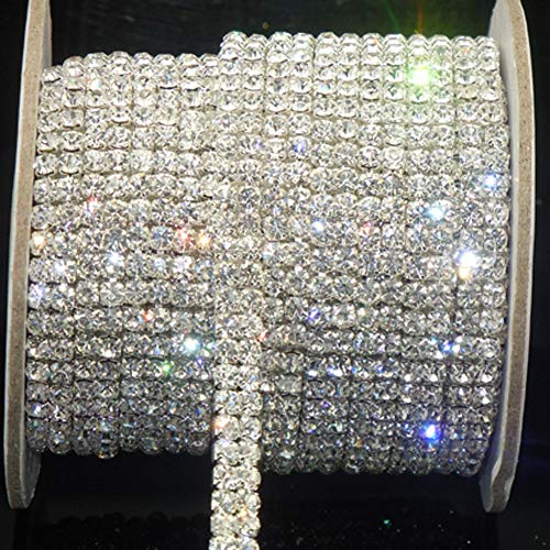 Crystal Rhinestone Close Chain SS16 Clear Rhinestone 1 Yard 2-Row Silver for DIY - Rhinestone Chain Crystal
