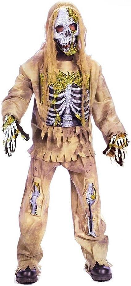BOYS HALLOWEEN SCARY SKELETON FANCY DRESS KIDS COSTUME OUTFIT MASK