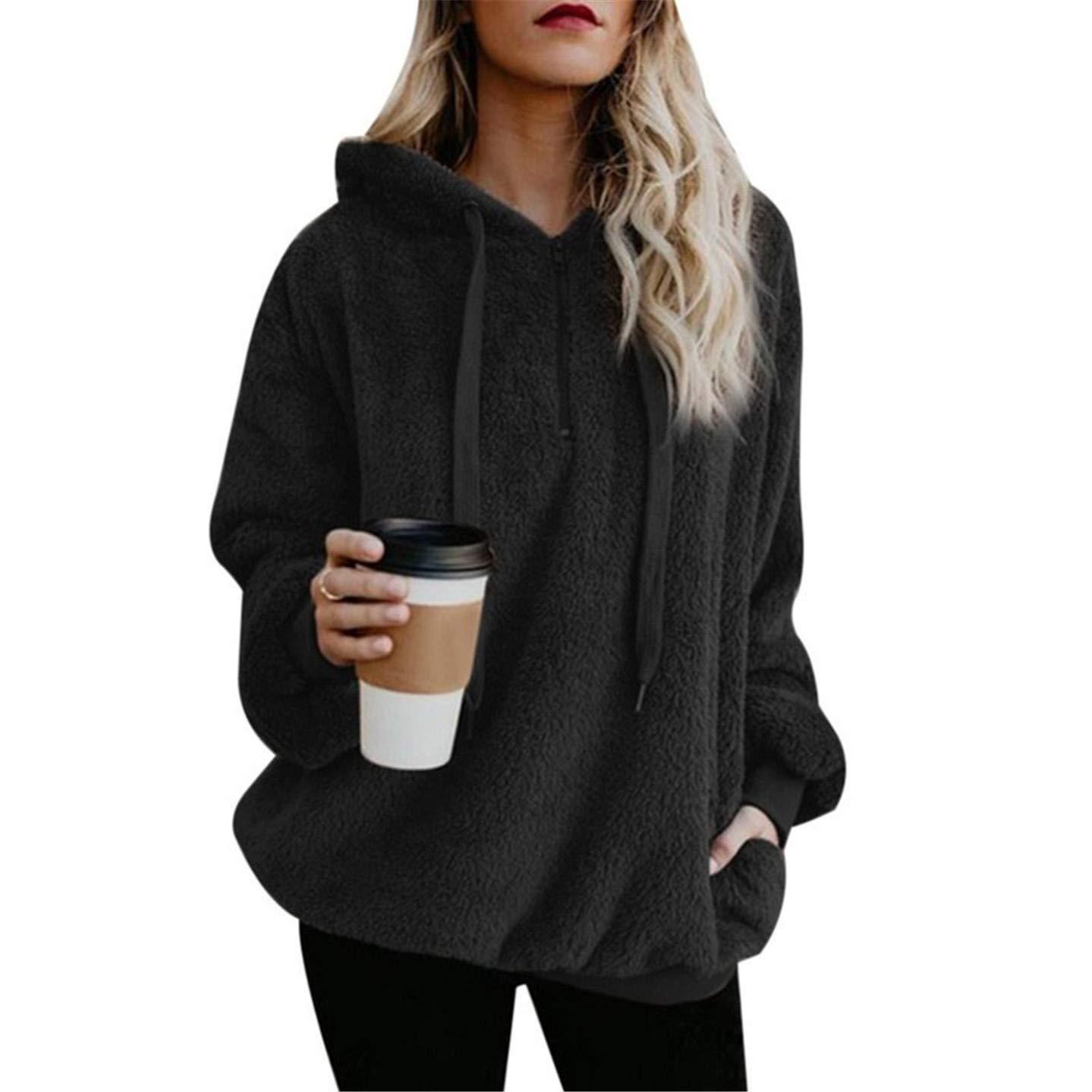 79c9367f14d Amazon.com  Yakke Pullovers Sweatshirts Female Hoodie Pink   Gray Plus Size  Sweatshirt Hoodies Women Long Sleeves Hoody for Wome  Clothing