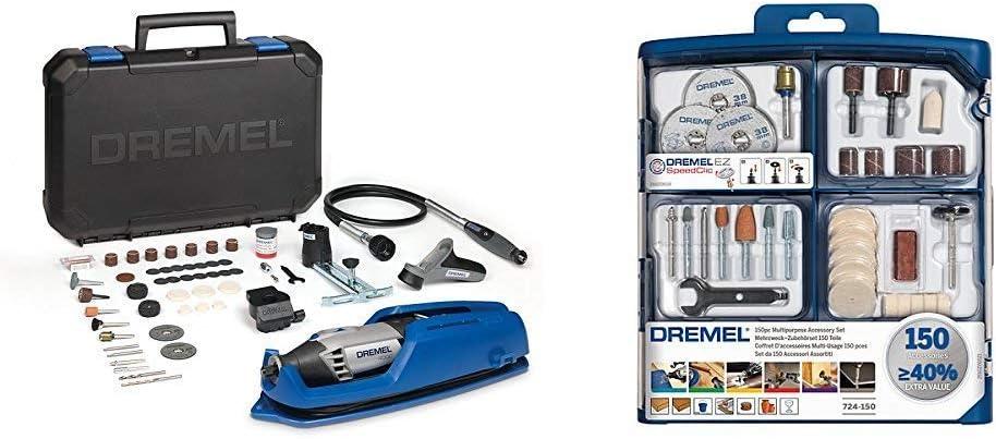 Dremel 4000-4/65 EZ - Pack multiherramienta, eje flexible, cortadora y 65 accesorios + Dremel 2.615.S72.4JA Kit de 150 Accesorios Variados: Amazon.es: Bricolaje y herramientas