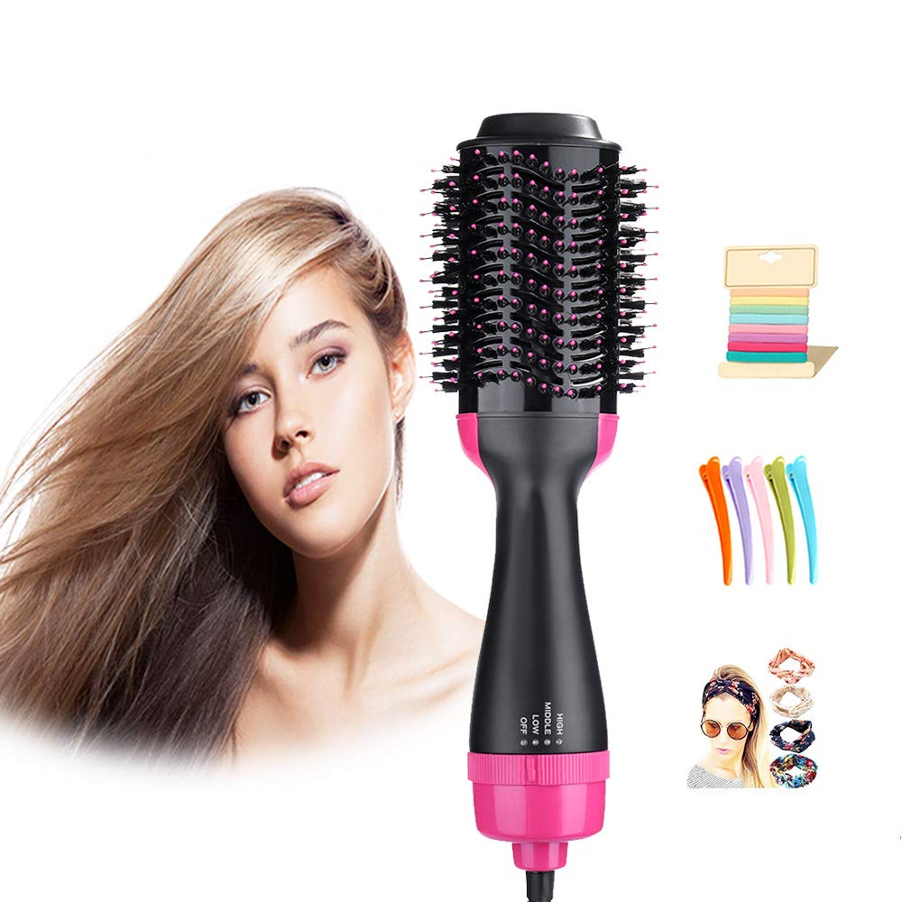 One Step Hair Dryers & Volumizer,Lanic 3 in 1 Hot Air Brush Negative Ion Generator Hair Dryer Brush for Dry, Straighten and Curling,Hair Styling Tool with Negative Ionic Technology for All types Hair by LANIC