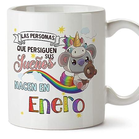 MUGFFINS Taza de Cumpleaños Koala mes de Enero - Regalos Desayuno Feliz Cumpleaños/Aniversario. Cerámica 350 mL