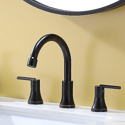 Vesla Home Modern 3 Hole Widespread Oil Rubbed Bronze Bathroom Faucet Lavatory Bathroom Vanity Sink Faucet Includes Supply Lines Amazon Com