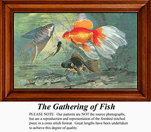 The Gathering of Fish, Animal Counted Cross Stitch Pattern (Pattern Only, You Provide the Floss and Fabric)