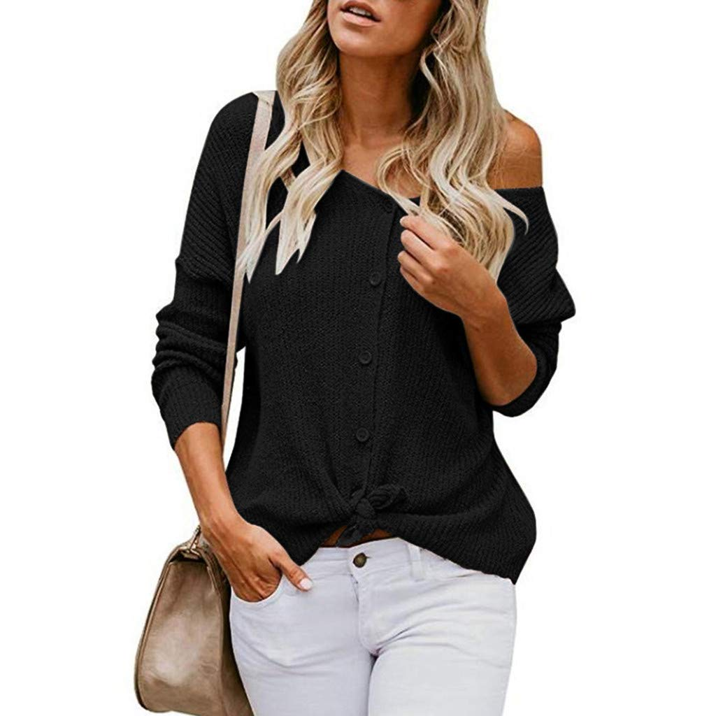 Ftifulvan Women's Tops Off Shoulder Solid Color Casual Knit Cardigan Sweater Button Down Shirts Blouse Black by Fitfulvan Womens tops