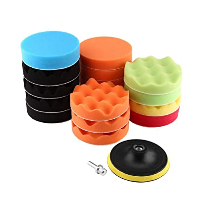 Polishing Pad Buffing Pad Drill Polishing Pad 19Pcs Buffing Pads kit Drill Polishing Pad Kit(5''(M14)): Automotive