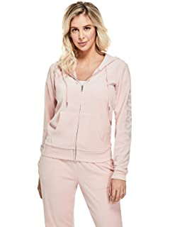 GUESS Factory Womens Amel Rhinestone Logo Velour Hoodie