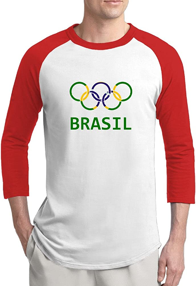 2016 Brasil Olympic Logo Mens Fashion 100% Cotton 3/4 Sleeve Athletic Baseball Raglan Sleeves T-Shirt
