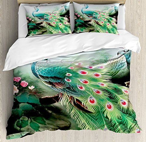 - Ambesonne Peacock Duvet Cover Set, Summer Flower Fantasy Garden in Vibrant Colors Painting Effects Nature Art Print, Decorative 3 Piece Bedding Set with 2 Pillow Shams, King Size, Green Fuchsia