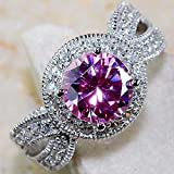 Women Fashion 925 Silver Pink Sapphire Cluster Ring Engagement Wedding Jewelry