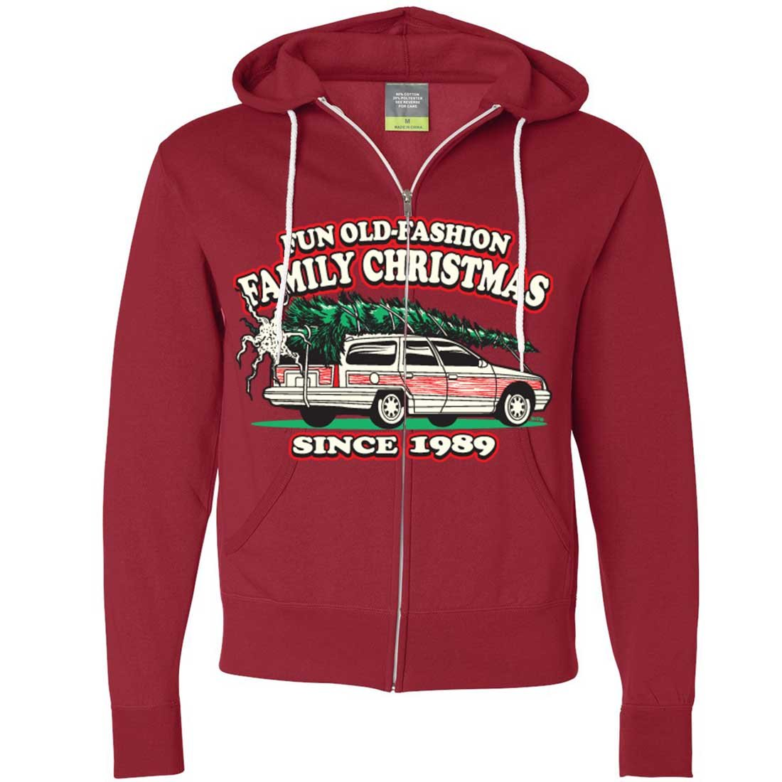 Amazon.com: Dolphin Shirt Co Old Fashioned Family Christmas Zip-up Hoodie: Clothing