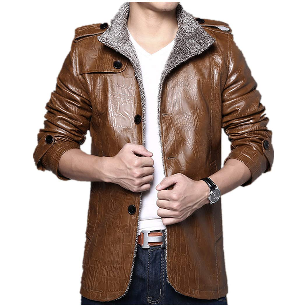 993aa74efdd6 XWDA PU Leather Jacket Men Thicken Fur Lined Coat Warm Stand Collar Vintage  Outwear with Buttons M-4XL at Amazon Men's Clothing store: